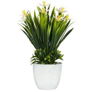 Artificial Mini White and Yellow Daffodils in White Plastic Vase