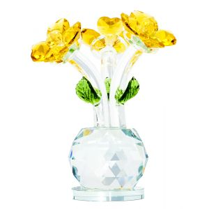 Floral Crystal Glass Ornament with Yellow Petals and Green Leaves