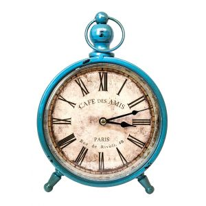 Vintage Distressed Style Paris Standing Clock - Blue