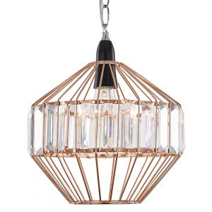 Designer Copper Easy Fit Pendant Light Shade with Clear Acrylic Rods