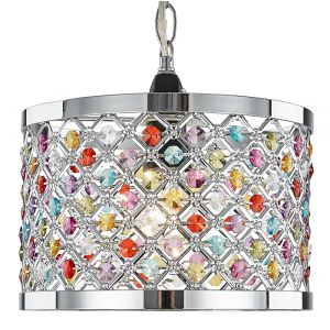Modern Sparkly Ceiling Pendant Light Shade with Multi-Coloured Beads