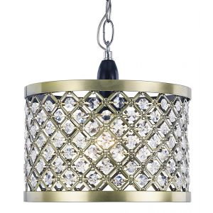 Modern Antique Brass Ceiling Pendant Light Shade with Clear Beads