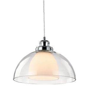 Modern Double Glass Pendant Ceiling Light with Clear Cable