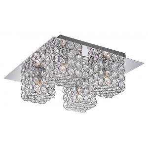 Modern Bathroom Ceiling Light Fitting with Crystal Glass and Metal Shades