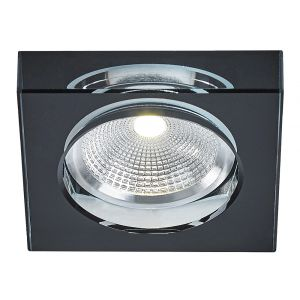 Modern Chunky Square Black Crystal Glass Dimmable LED Ceiling Downlighter