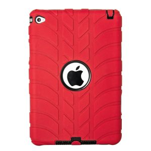 iPad Mini 4  Silicone Tyre Tread Heavy Duty Protective Case - Red / Black
