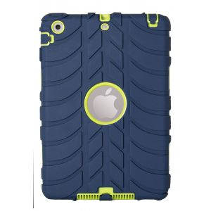 iPad Mini 1 / 2 / 3 Silicone Tread Heavy Duty Protective Case - Blue / Green