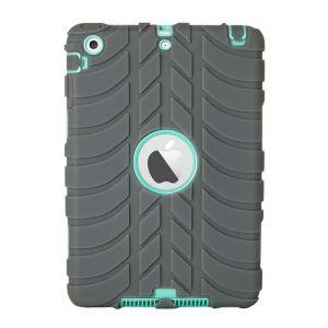 iPad Mini 1 / 2 / 3 Silicone Tyre Tread Heavy Duty Protective Case - Grey / Blue