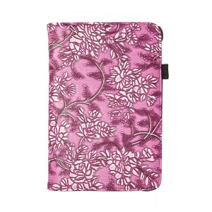 iPad Mini 4 PU Floral Smart Flip Over Cover Case - Pink