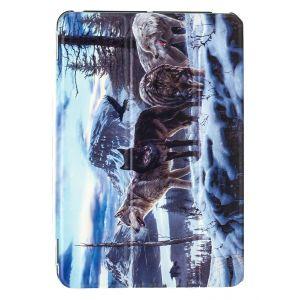 iPad Mini 1 / 2 / 3 Premium Winter Wolves Illustration Slimline Flip Case
