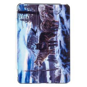 iPad Mini 4 Premium Winter Wolves Illustration Slimline Flip Case