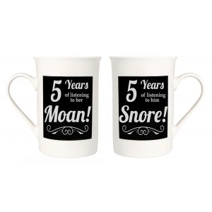 Amusing 5th Anniversary Mug Set with 5 Years of Snoring and Moaning