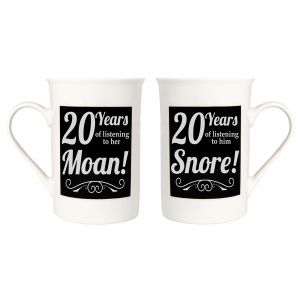 Amusing 20th Anniversary Mug Set with 20 Years of Snoring and Moaning