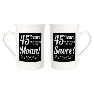 Amusing 45th Anniversary Mug Set with 45 Years of Snoring and Moaning