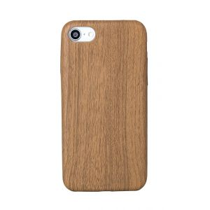 iPhone 8 TPU Leather Wood Effect Case - Brown / Oak