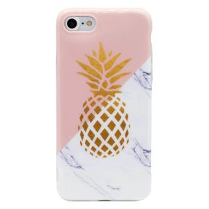 iPhone 7 TPU Pink and White Marble Case with Gold Pineapple Case - Multicoloured