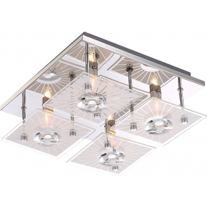 Modern and Unique Square 4 x Halogen Ceiling Light with Crystal Decoration