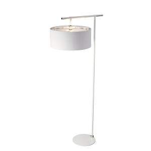 Modern White & Polished Nickel Floor Lamp - 1 x 60W E27
