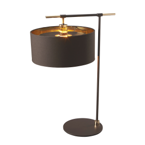 Contemporary Mocha Brown Finish & Polished Brass Table Lamp