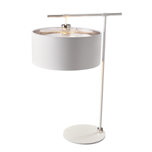 Contemporary White and Polished Nickel Table Lamp with Shade