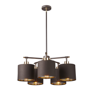Brown and Polished Brass 5 Light Chandelier - 5 x 60W E27