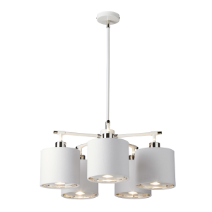White and Polished Nickel 5 Light Chandelier - 5 x 60W E27