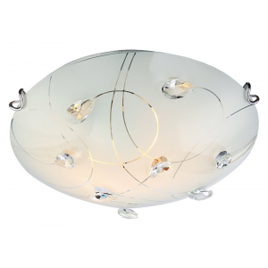 Contemporary Glass Flush Ceiling Light with Crystal Droplets - 30cm Diameter