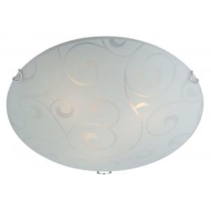 Contemporary Glass Flush Ceiling Light with Floral Decor - 25cm Diameter
