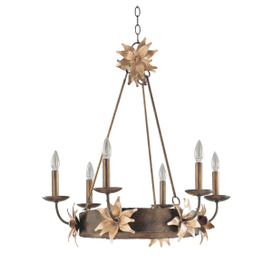 Bronze And Gold 6lt Chandelier - 6 x 60W E14