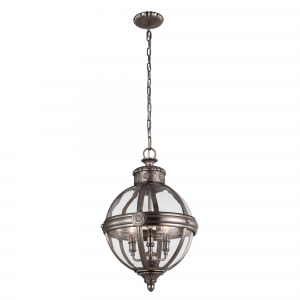 Antique Nickel 3lt Pendant Chandelier - 3 x 60W E14