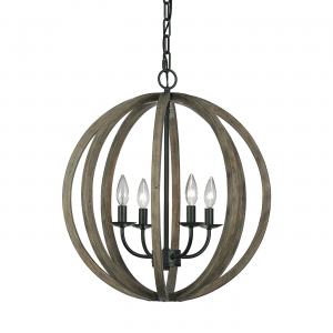 Weather Oak Wood / Antique Forged Iron 4lt Pendant - 4 x 60W E14