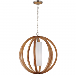 Light Wood / Brushed Steel Large Pendant - 1 x 75W E27