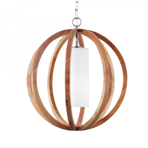Light Wood/Brushed Steel Small Pendant - 1 x 60W E27