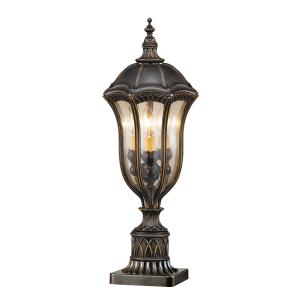 Walnut Pedestal Lantern - 3 x 60W E14