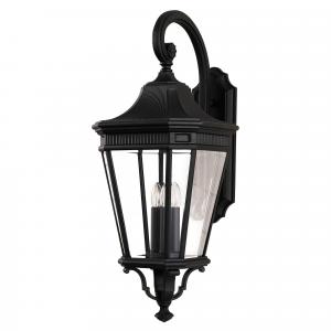 Black Large Wall Lantern - 3 x 60W E14