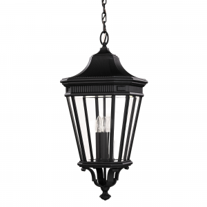 Black Large Chain Lantern - 3 x 60W E14