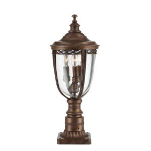 Black 3lt Medium Pillar Lantern - 3 x 60W E14