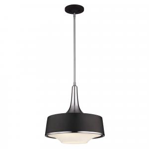 Brushed Steel / Textured Black Pendant - 4 x 75W E27