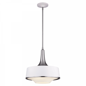 Brushed Steel / Textured White Pendant - 4 x 75W E27