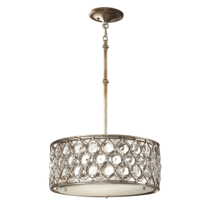 Burnished Silver Pendant Single Chandelier - 3 x 60W E27