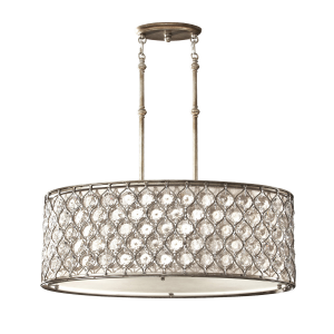 Burnished Silver Pendant Ceiling Light - 3 x 100W E27