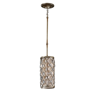 Burnished Silver 1 Light Mini Ceiling Pendant - 1 x 60W E27