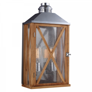 Natural Oak Medium Wall Lantern - 2 x 100W E27