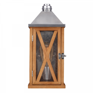 Natural Oak Small Wall Lantern - 1 x 100W E27