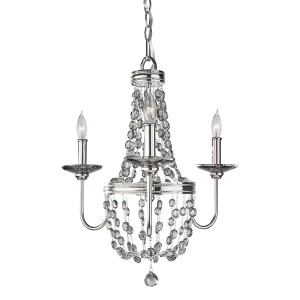 Polished Nickel 3lt Mini Chandelier - 3 x 60W E14